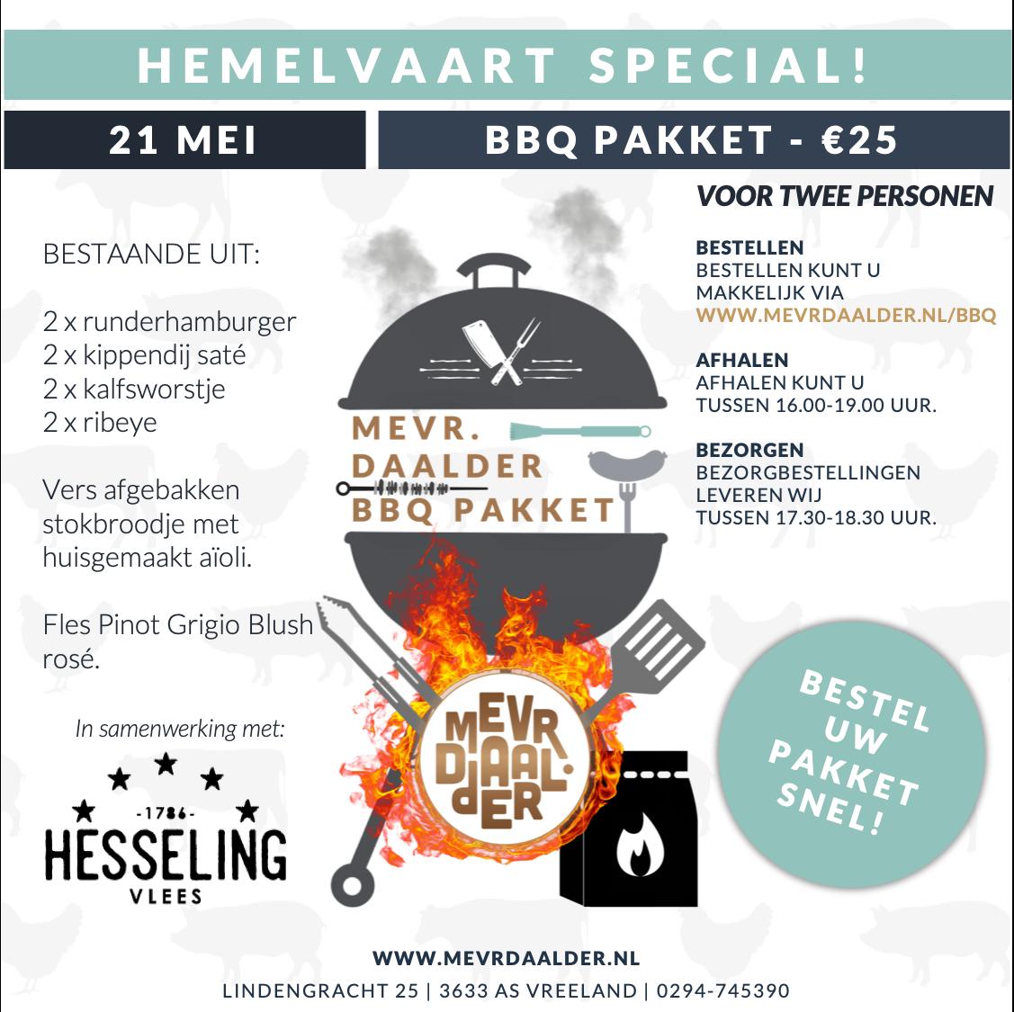 Mevr. Daalder - Take Away - Hemelvaart special - BBQ pakket
